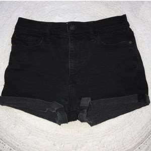 Abercrombie & Fitch high rise black jean shorts.